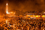 Koutoubia mosque in Marrakech at night.