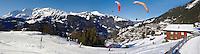 Paragliders above Wengen - Swiss Alps - Switzerland