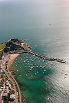 Aerial images of Gorey castle showing the harbour at high tide.