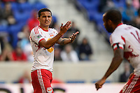 Tim Cahill (17) of the New York Red Bulls. The New York Red Bulls and the Colorado Rapids played to a 1-1 tie during a Major League Soccer (MLS) match at Red Bull Arena in Harrison, NJ, on March 15, 2014.