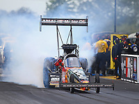 Jul 10, 2016; Joliet, IL, USA; NHRA top fuel driver Terry McMillen during the Route 66 Nationals at Route 66 Raceway. Mandatory Credit: Mark J. Rebilas-USA TODAY Sports
