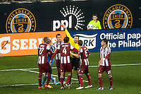 Referee Jorge Gonzalez sends off Josue Soto (13) of CD Chivas USA. The Philadelphia Union defeated the CD Chivas USA 3-1 during a Major League Soccer (MLS) match at PPL Park in Chester, PA, on July 12, 2013.
