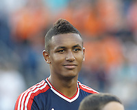 New England Revolution midfielder Juan Agudelo (10). In a Major League Soccer (MLS) match, the New England Revolution (blue) tied D.C. United (white), 0-0, at Gillette Stadium on June 8, 2013.