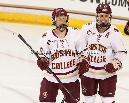 Haley Skarupa (BC - 22), Alex Carpenter (BC - 5) - The Boston College Eagles defeated the visiting Syracuse University Orange 10-2 on Saturday, October 4, 2014, at Kelley Rink in Conte Forum in Chestnut Hill, Massachusetts.