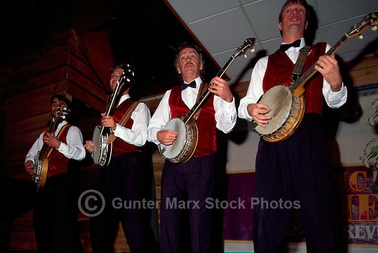 Whitehorse, YT, Yukon Territory, Canada - Banjo Players playing and singing at Frantic Follies Cabaret