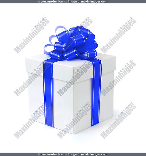 Fancy gift-box with blue ribbon bow isolated with clipping path on white background