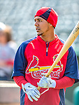 2 March 2013: St. Louis Cardinals outfielder Jon Jay awaits his turn in the batting cage prior to a Spring Training game against the Washington Nationals at Roger Dean Stadium in Jupiter, Florida. The Nationals defeated the Cardinals 6-2 in their first meeting since the NLDS series in October of 2012. Mandatory Credit: Ed Wolfstein Photo *** RAW (NEF) Image File Available ***