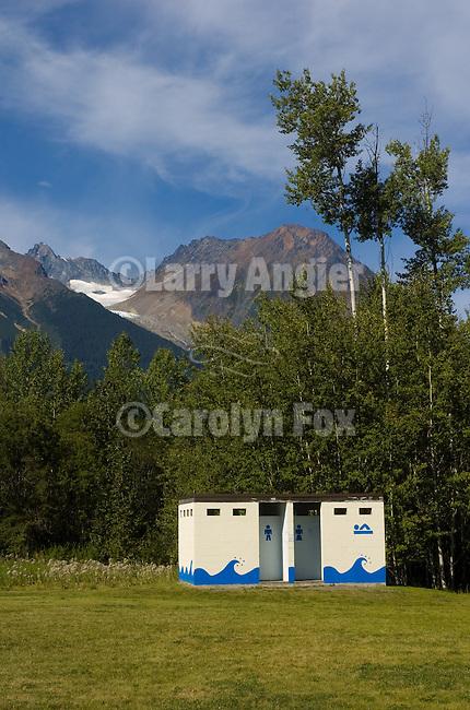 Outhouses (changing room) at Lake Katherine, Hudson Bay Mountains behind, British Columbia