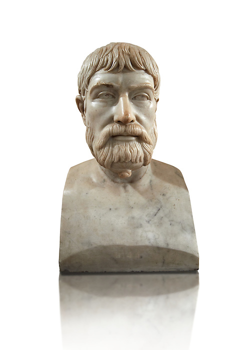 Roman marble sculpture bust of Pindar, 1 130-140 AD from an original mid 5th century BC Hellanistic Greek original, inv 6144, Naples Museum of Archaeology, Italy