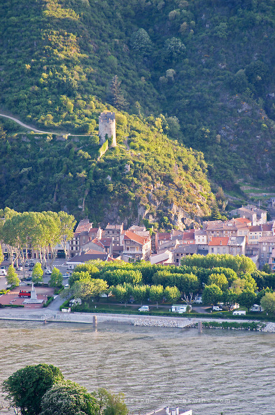 the tower and town of  tournon sur rhone rhone france