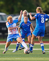 Chicago Red Stars midfielder/forward Lori Chalupny (17) intercepts the ball from Boston Breakers defender Julie King (8).  The Boston Breakers beat the Chicago Red Stars 1-0 at Dilboy Stadium.