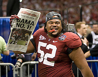 Alfred McCullough of Alabama celebrates after winning BCS National Championship game against LSU at Mercedes-Benz Superdome in New Orleans, Louisiana on January 9th, 2012.   Alabama defeated LSU, 21-0.