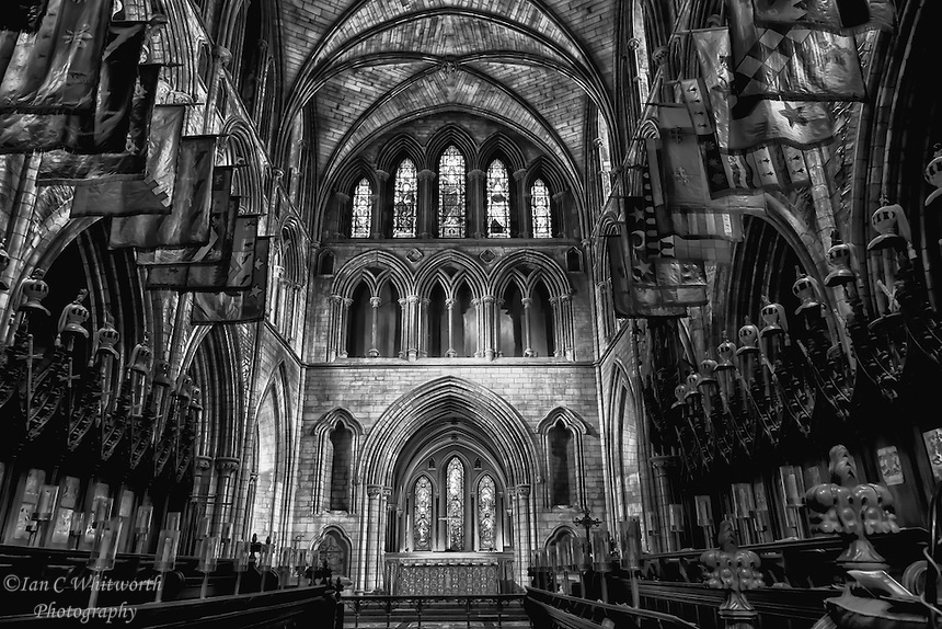 A black and white view of the interior of St. Patrick's Cathedral in Dublin, Ireland.