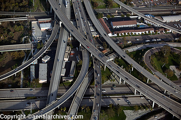 aerial view above interchange of interstate 5 and I-8 freeways San Diego California