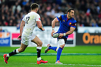 Scott Spedding of France looks to pass the ball. RBS Six Nations match between France and England on March 19, 2016 at the Stade de France in Paris, France. Photo by: Patrick Khachfe / Onside Images
