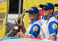 Jun. 2, 2013; Englishtown, NJ, USA: NHRA pro mod driver Mike Janis celebrates with his crew after winning the Summer Nationals at Raceway Park. Mandatory Credit: Mark J. Rebilas-