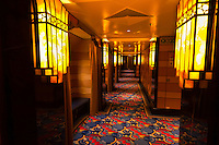 An art deco style  hallway on the new Disney Dream cruise ship sailing between Florida and the Bahamas.