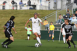 05 November 2008: Boston College's Kelly Henderson (10) between Duke's Lorraine Quinn (13) and Jane Alukonis (5). Boston College defeated Duke University 1-0 at Koka Booth Stadium at WakeMed Soccer Park in Cary, NC in a women's ACC tournament quarterfinal game.