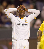 LA Galaxy forward Edson Buddle (14) reacts to narrowly missing a goal but had two goals on the evening. The LA Galaxy defeated Real Salt Lake 2-1 at Home Depot Center stadium in Carson, California on Saturday April 17, 2010.  .