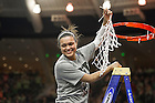 Mar. 31, 2014; Notre Dame guard Kayla McBride holds up the net after Notre Dame defeated the Baylor Bears in the finals of the Notre Dame regional in the 2014 NCAA Tournament at the Purcell Pavilion. Notre Dame won 88-69. Photo by Barbara Johnston/University of Notre Dame