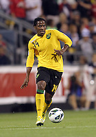 COLUMBUS, OHIO - SEPTEMBER 11, 2012:  Lovel Palmer (14) of  Jamaica during a CONCACAF 2014 World Cup qualifying  match against the USA at Crew Stadium, in Columbus, Ohio on September 11. USA won 1-0.