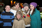 Dalton and Tyler Harper, Edel Farrell, Savannah Penders and Amber Penders at the Arrival of Santa and the turning on of the Christmas Lights in Dunleer...(Photo credit should read Jenny Matthews www.newsfile.ie)....This Picture has been sent you under the conditions enclosed by:.Newsfile Ltd..The Studio,.Millmount Abbey,.Drogheda,.Co Meath..Ireland..Tel: +353(0)41-9871240.Fax: +353(0)41-9871260.GSM: +353(0)86-2500958.email: pictures@newsfile.ie.www.newsfile.ie.