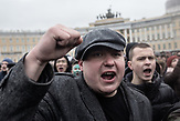 Protesters scanting slogans on Saint Petersburgs Palace Sqaure in front of the Winter Palace as part of the anti-corruption protest, organised by Russia oppositional Alexsei Navalny in Saint Petersburg and the rest of Russia on the 26.03.2017. With thouasands particpating these are the biggest demonstrations in Russia since 2011.