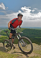 Mountain bikers riding in the hills of south Wales