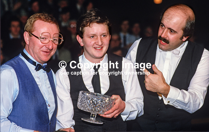 Jason Prince, 15 years, from N Ireland, is congratulated by snooker stars, Dennis Taylor, left, and Willy Thorne, England, on winning the BTNI sponsored N Ireland Youth Snooker Championship. 19860304DT+JP+WT..Copyright Image from Victor Patterson, 54 Dorchester Park, Belfast, UK, BT9 6RJ..Tel: +44 28 9066 1296.Mob: +44 7802 353836.Voicemail +44 20 8816 7153.Skype: victorpattersonbelfast.Email: victorpatterson@mac.com.Email: victorpatterson@ireland.com (back-up)..IMPORTANT: If you wish to use this image or any other of my images please go to www.victorpatterson.com and click on the Terms & Conditions. Then contact me by email or phone with the reference number(s) of the image(s) concerned.