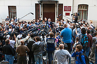 17/08/2012, Moscow, Russia..Lawyers for Maria Alyokhina, Yekaterina Samutsevich and Nadezhda Tolokonnikova of punk band Pussy Riot speak to the media outside the court after the three were sentenced to two years prison for their performance in the Christ The Saviour Cathedral.