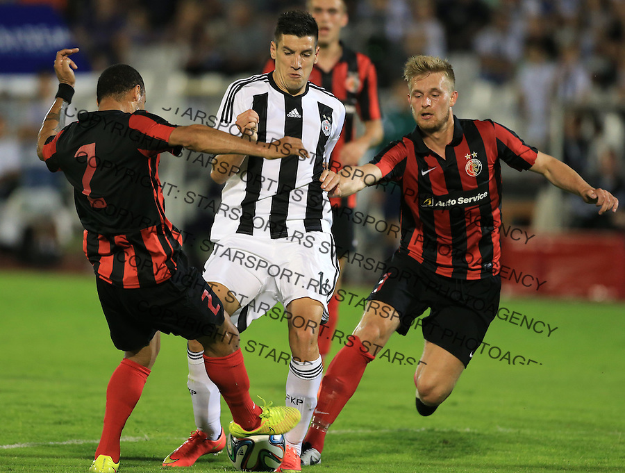 Fudbal Football Soccer<br /> UEFA Champions league-2nd qualifying round<br /> Partizan v HB Torshavn (Faroe Islands)<br /> Petar Grbic (C) Rogvi Holm (R)<br /> Beograd, 07.15.2014.<br /> foto: Srdjan Stevanovic/Starsportphoto &copy;