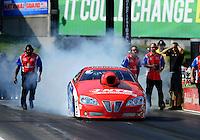 May 18, 2012; Topeka, KS, USA: NHRA pro stock driver Shane Gray during qualifying for the Summer Nationals at Heartland Park Topeka. Mandatory Credit: Mark J. Rebilas-
