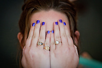 Kathy 's purple fingernails protect her eyes from the hairspray as she gets ready for her wedding ceremony at Christ Episcopal Church in Sausalito, CA. (Photo by Dan DeLong/Red Box Pictures)