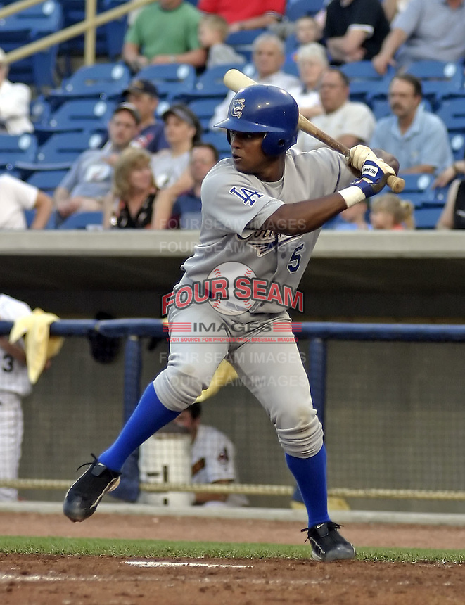 May 12, 2004:  Tony Abreu of the Columbus Catfish, South Atlantic League (low-A) affiliate of the Los Angeles Dodgers, during a game at Classic Park in Eastlake, OH.  Photo by:  Mike Janes/Four Seam Images