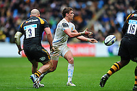 Henry Slade of Exeter Chiefs passes the ball. European Rugby Champions Cup quarter final, between Wasps and Exeter Chiefs on April 9, 2016 at the Ricoh Arena in Coventry, England. Photo by: Patrick Khachfe / JMP