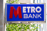 Metro Bank Sign, new high street bank - May 2014.