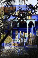Villa, Majorelle Garden, Marrakech, Morocco. These botanical gardens were designed by French painter Jacques Majorelle, 1886-1962, in the 1920s and 1930s. He invented the shade of cobalt blue, known as Majorelle blue, which is used on the buildings and walls. Picture by Manuel Cohen