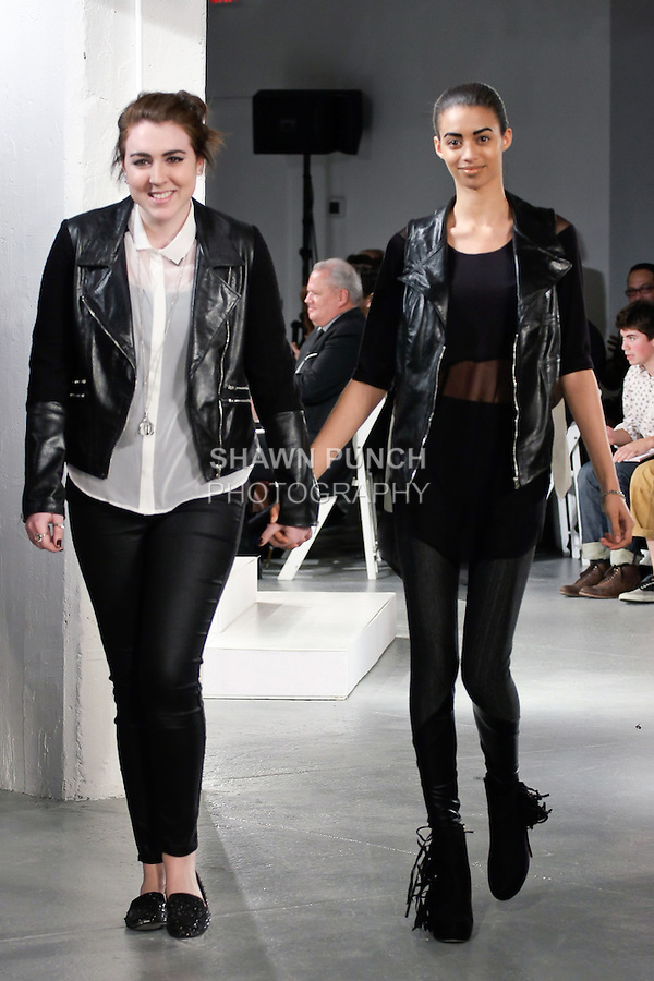 Graduting student designer Emily Kauffelt, walks runway with model at the close of the 2012 Pratt Institute fashion show, at Center548 NYC, on April 26, 2012.