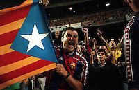 Pix:Michael Steele/SWpix...Soccer. F.C.Barcelona, Nou Camp, Bacelona, Spain...COPYRIGHT PICTURE>>SIMON WILKINSON..A Barcelona fan.
