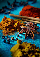 A display of home spices used by chef Christina Arokiasamy, author of The Spice Merchant's Daughter. (Photo by Andy Rogers)