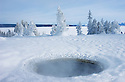 Black Pool, a geothermal hot spring, surrounded by snow in winter, along trail at West Thumb Geyser Basin; Yellowstone National Park, Wyoming. .