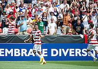 SANDY, UT - July 13, 2013: US Mens National Team midfielder Joe Corona (6) celebrating his goal during the USA vs Cuba match at Rio Tinto Stadium in Sandy, Utah. Final score USA 4, Cuba 1.