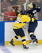 Jeff Velleca (Merrimack - 28), Jared Beers (Notre Dame - 29) - The University of Notre Dame Fighting Irish defeated the Merrimack College Warriors 4-3 in overtime in their NCAA Northeast Regional Semi-Final on Saturday, March 26, 2011, at Verizon Wireless Arena in Manchester, New Hampshire.