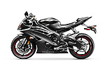 Black 2013 Yamaha YZF-R6 supersport motorcycle. Isolated with clipping path motorbike on white background.