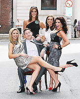 19/8/2010. TV3 SEASON LAUNCH.Ray Foley is pictured with Anna Daly, Glenda Gilsen, Lisa Cannon and Sinead Desmond on Kildare St Dublin for the launch of the TV3 Autumn season. Picture James Horan/Collins Photos.