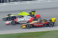 11 September, 2005, Joliet,IL,USA<br /> Vitor Meira (17), Sam Hornish,Jr. (6) and Scott Sharp.<br /> Copyright&copy;F.Peirce Williams 2005