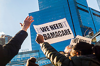 Hundreds of concerned New Yorkers protest in Columbus Circle in New York on Sunday, January 15, 2017 against president-elect Donald Trump and the discontinuance of the Affordable Care Act (Obamacare).  (© Richard B. Levine)
