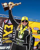 Aug 21, 2016; Brainerd, MN, USA; NHRA top fuel driver Brittany Force celebrates after winning the Lucas Oil Nationals at Brainerd International Raceway. Mandatory Credit: Mark J. Rebilas-USA TODAY Sports