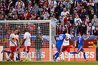 Vicente Sanchez (7) of the Colorado Rapids celebrates scoring. The New York Red Bulls and the Colorado Rapids played to a 1-1 tie during a Major League Soccer (MLS) match at Red Bull Arena in Harrison, NJ, on March 15, 2014.