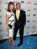Kathy Griffin, Andy Cohen.Bravo's Andy Cohen's Book Release Party For &quot;Most Talkative: Stories From The Front Lines Of Pop Held at SUR Lounge, West Hollywood, California, USA..May 14th, 2012.full length black suit yellow tie  white dress clutch bag red shoes mouth open funny smiling laughing .CAP/ADM/KB.&copy;Kevan Brooks/AdMedia/Capital Pictures.
